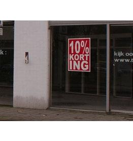 """Quadratische """"10% korting"""" Sticker auf Niederländisch"""