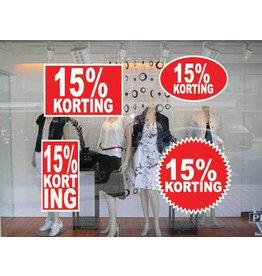 """Set """"15% korting"""" Sticker auf Niederländisch (4 Sticker)"""