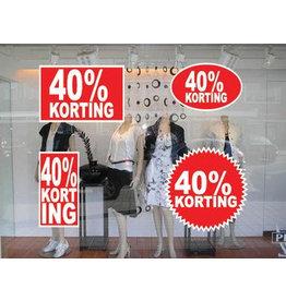 """Set """"40% korting"""" Sticker auf Niederländisch (4 Sticker)"""