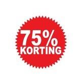 """Runde """"75% korting"""" Sticker auf Niederländisch"""