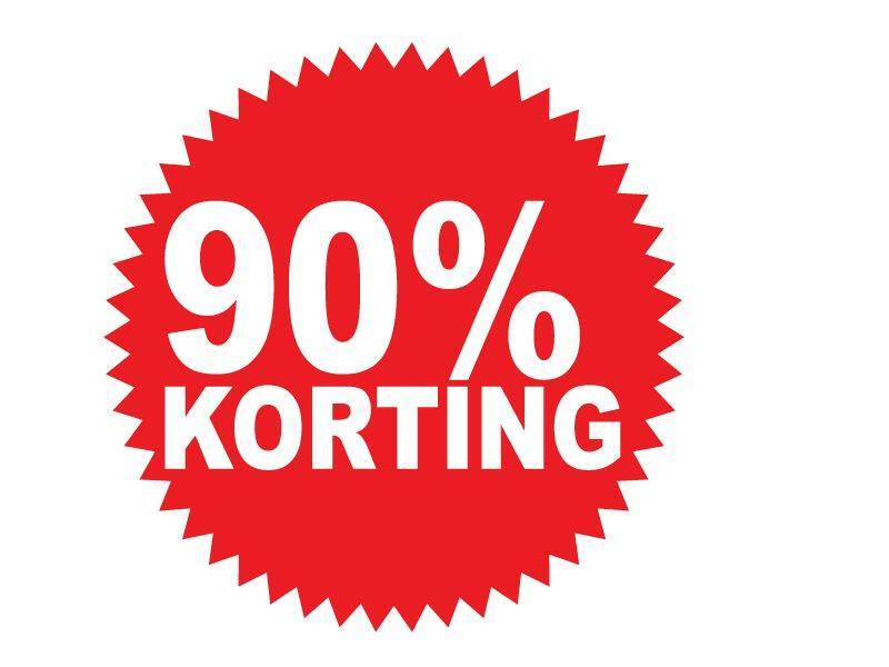 """Runde """"90% korting"""" Sticker auf Niederländisch"""