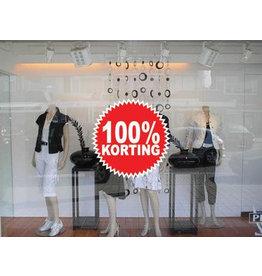 """Oracal 3164 G wit Runde """"100% korting"""" Sticker auf Niederländisch"""