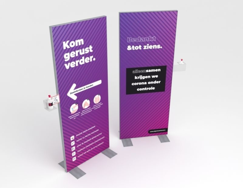 Willkommen Desinfektionsdisplay 80 x 200 cm inklusive Handseife
