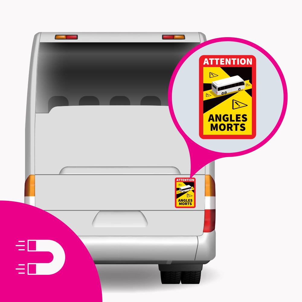 Magnetplatte Totwinkel - Aufmerksamkeitswinkel Morts Bus (17 x 25 cm) (Preis = inkl. MwSt.)