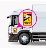 Blinder Fleck - Achtung Winkel Morts Truck PREMIUM Aufkleber (17 x 25 cm) (Preis = inkl. MwSt.)