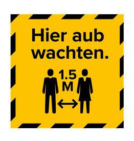 Metromark + Igepa vloerlaminaat Hier warten die Aufkleber des Wahllokals (15 x 15 cm)
